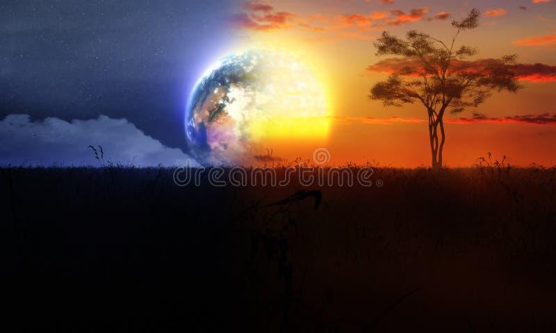 Dia e noite com árvore Sun e lua ilustração do vetor