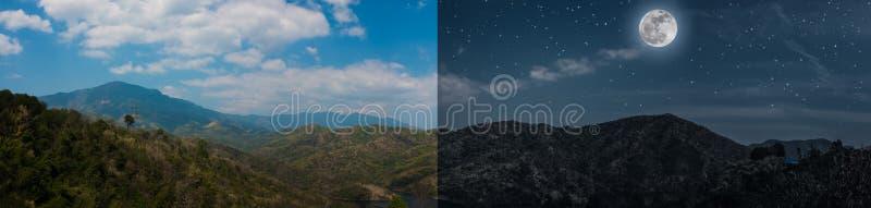 Dia e noite conceito da imagem panorâmico da paisagem do verão das montanhas imagem de stock