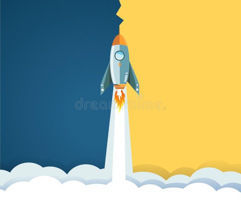 dia e noite foguete que voa sobre nuvens Conceito ilustração do vetor