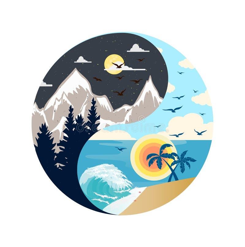 Dia e noite ilustração ying de yang ilustração do vetor
