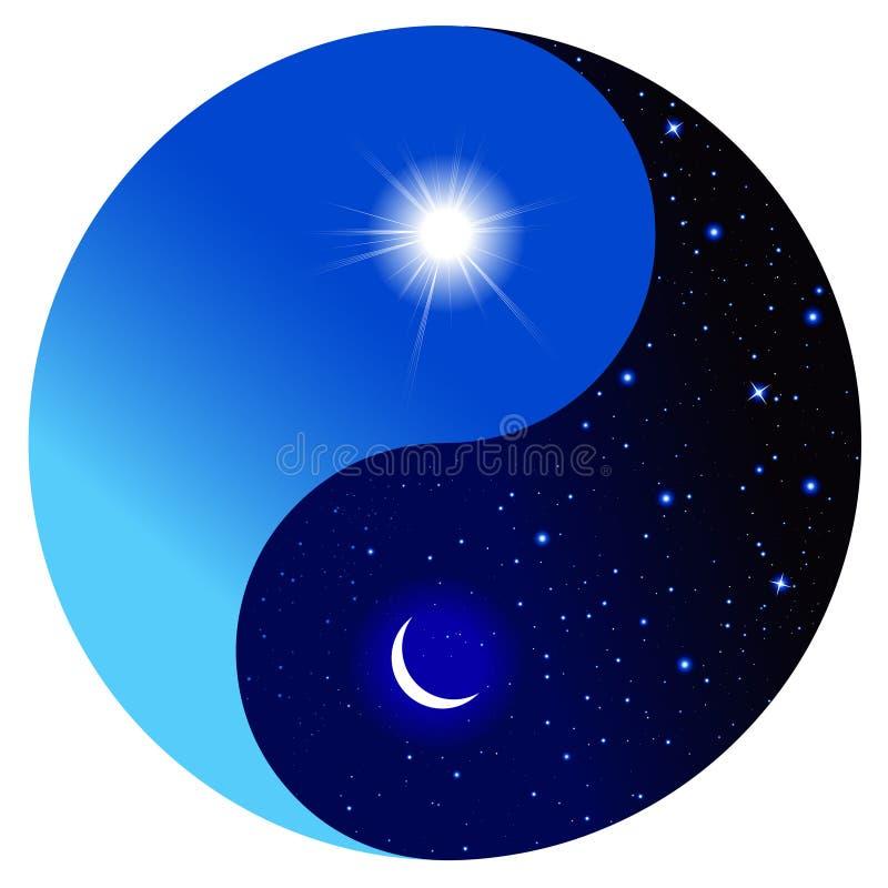 Dia e noite no símbolo de Yin e de Yang ilustração do vetor