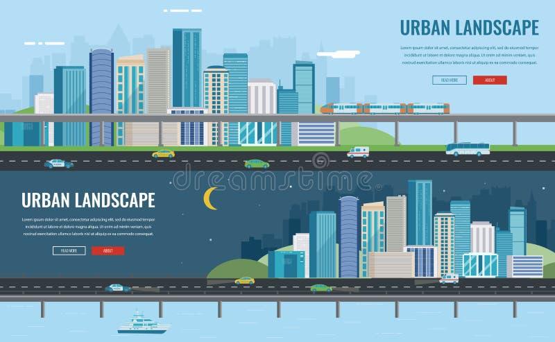 Dia e noite paisagem urbana Cidade moderna Arquitetura da construção, cidade da arquitetura da cidade Molde do Web site do concei ilustração stock