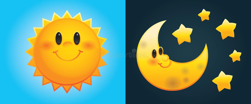 Sol e lua dos desenhos animados ilustração stock