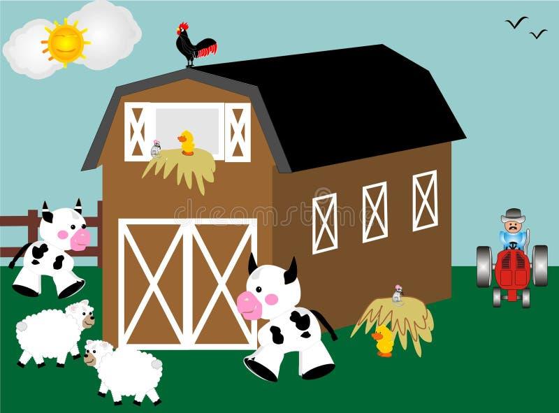 Dia em uma exploração agrícola ilustração do vetor