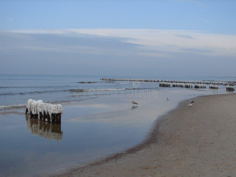 Dia ensolarado do inverno na praia no Polônia da cidade de Ustka imagens de stock