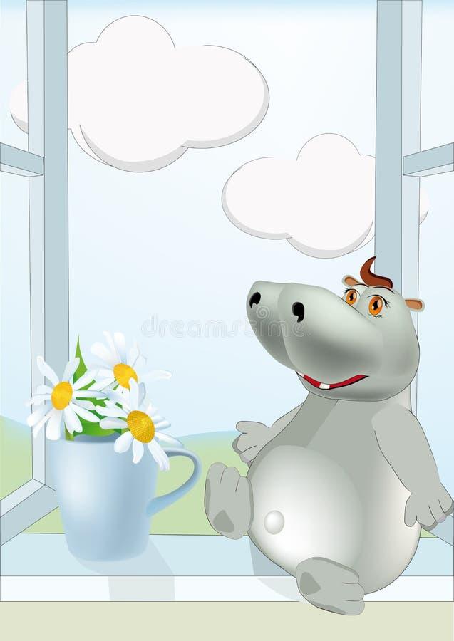 Dia ensolarado um hippopotamus e camomilas ilustração stock