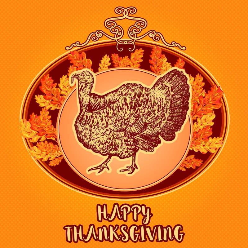 Dia feliz da acção de graças Ilustração tirada mão do vetor do vintage com peru e folhas de outono ilustração do vetor