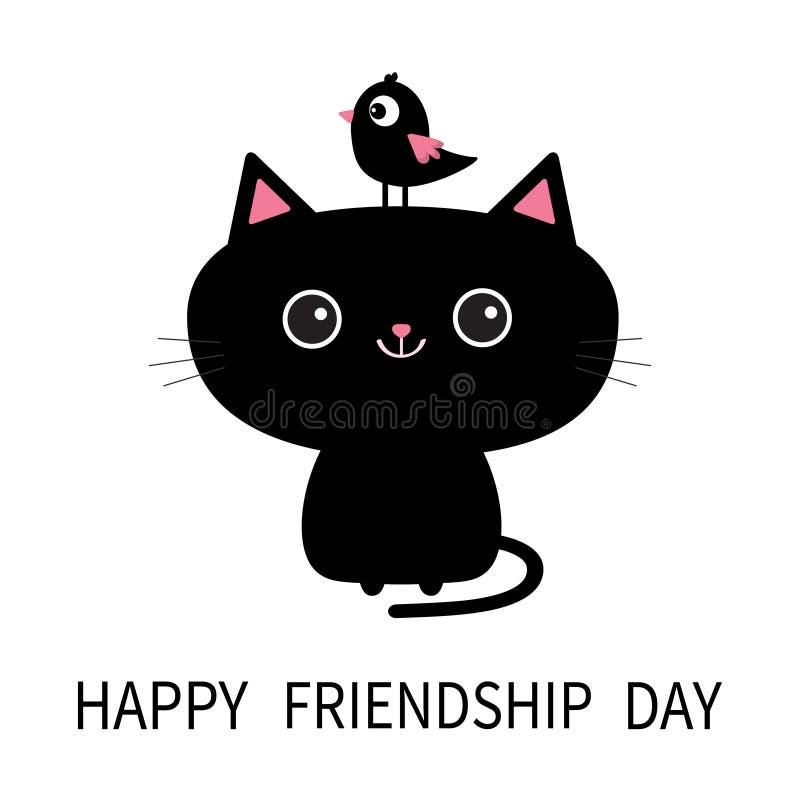 Dia feliz da amizade Ícone bonito do gato preto Pássaro que senta-se na cara principal Personagem de banda desenhada engraçado An ilustração royalty free