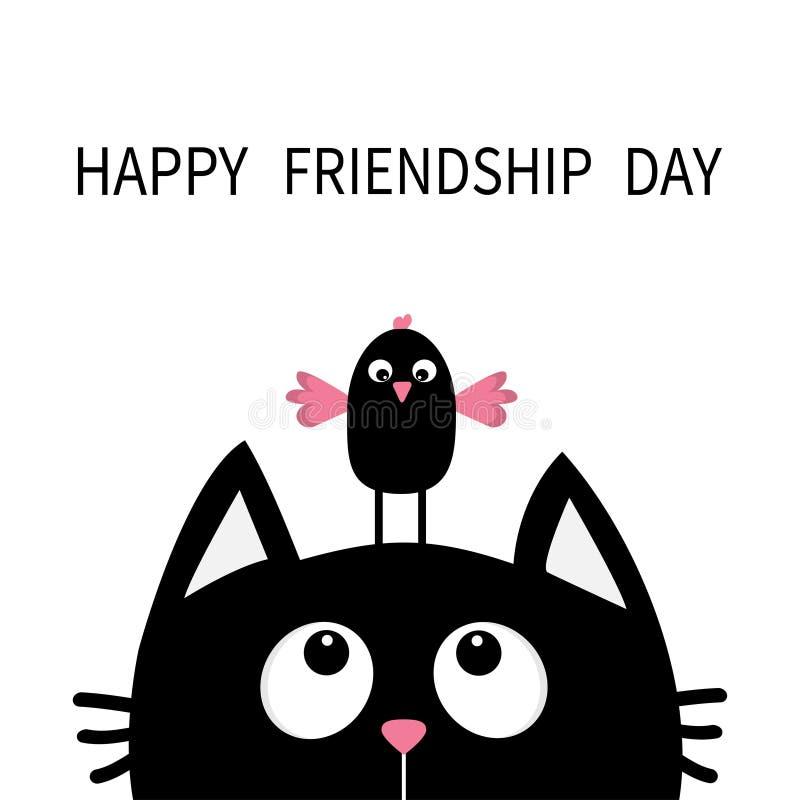 Dia feliz da amizade Gato preto bonito que olha acima ao pássaro na cabeça Personagem de banda desenhada engraçado Animal de Kawa ilustração royalty free