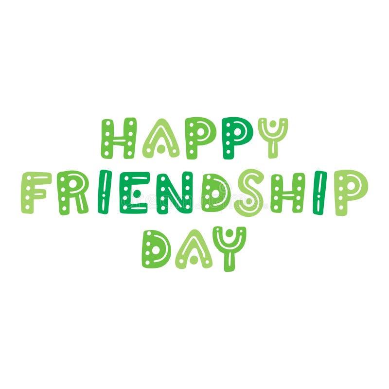 Dia feliz da amizade A mão bonito tirada rotula o cartão do vetor ilustração stock