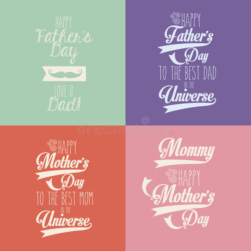 Dia feliz das mães e de pais ilustração royalty free