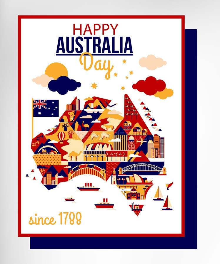 Dia feliz de Austrália ilustração stock
