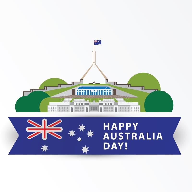 Dia feliz de Austrália, o 26 de janeiro Os grandes marcos como o símbolo do país canberra ilustração do vetor