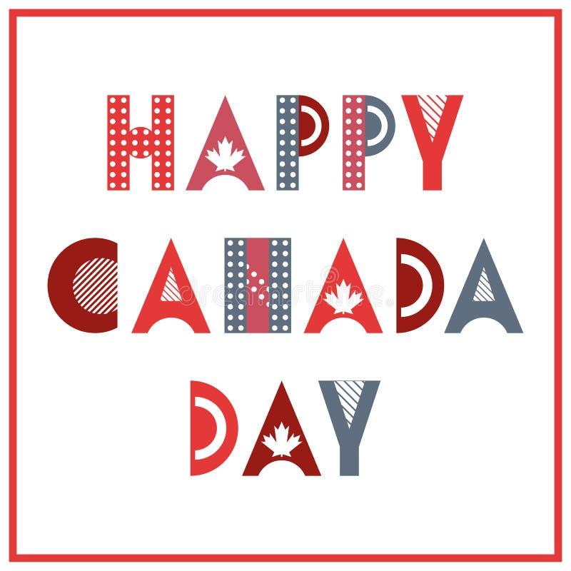 Dia feliz de Canadá Fonte geométrica na moda no estilo de memphis de 80s-90s Texto isolado no fundo branco ilustração stock