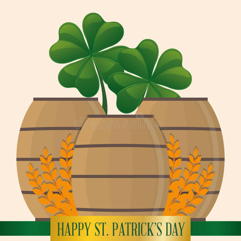 dia feliz de madeira ajustado dos patricks do st do trevo e do trigo da cerveja do tambor ilustração royalty free