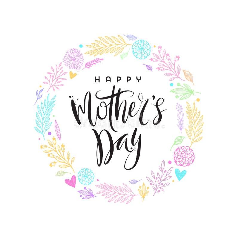 Dia feliz do ` s da mãe - cartão Caligrafia da escova e grinalda floral tirada mão ilustração royalty free