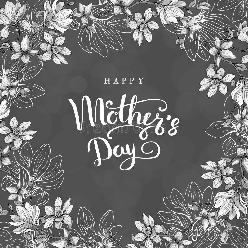 Dia feliz do `s da matriz Cartão com dia do ` s da mãe Fundo floral Ilustração do vetor ilustração do vetor