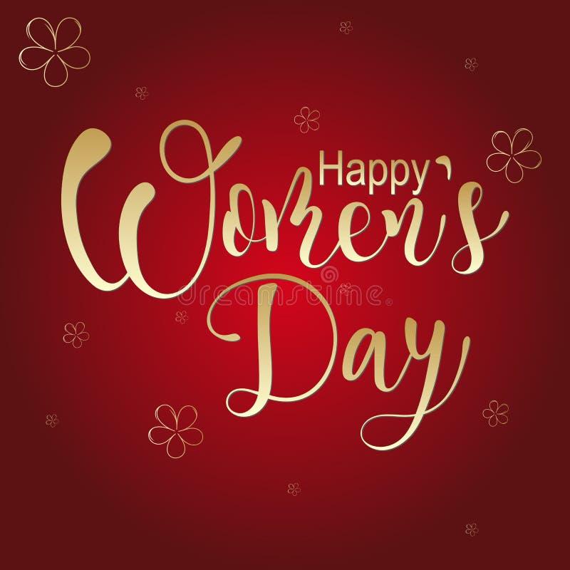 Dia feliz do ` s das mulheres, cartão, rotulando a ilustração ilustração do vetor
