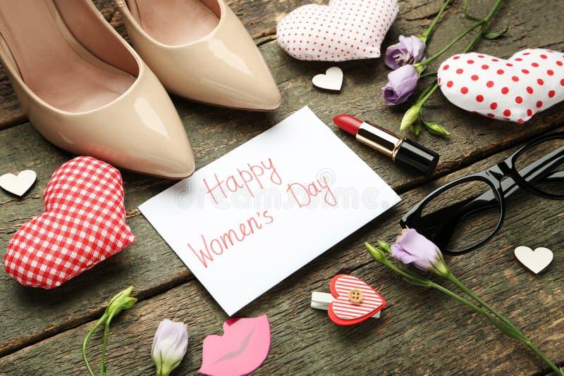Dia feliz do ` s das mulheres da inscrição imagens de stock
