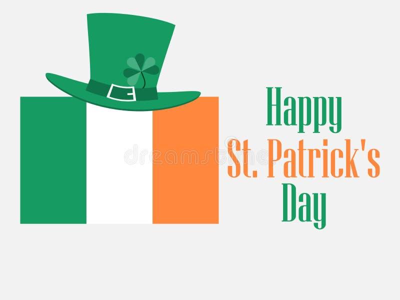 Dia feliz do ` s de St Patrick Fundo festivo com uma bandeira e um trevo irlandeses Chapéu do duende Vetor ilustração stock