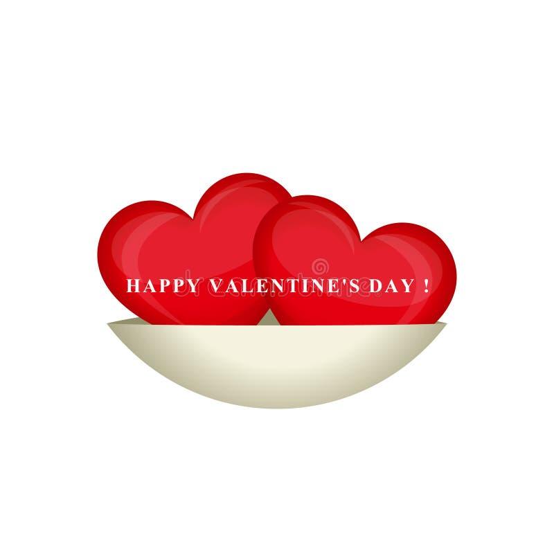 Dia feliz do `s do Valentim Dois corações vermelhos isolados em uns pires Projeto creativo Ilustração do vetor ilustração do vetor