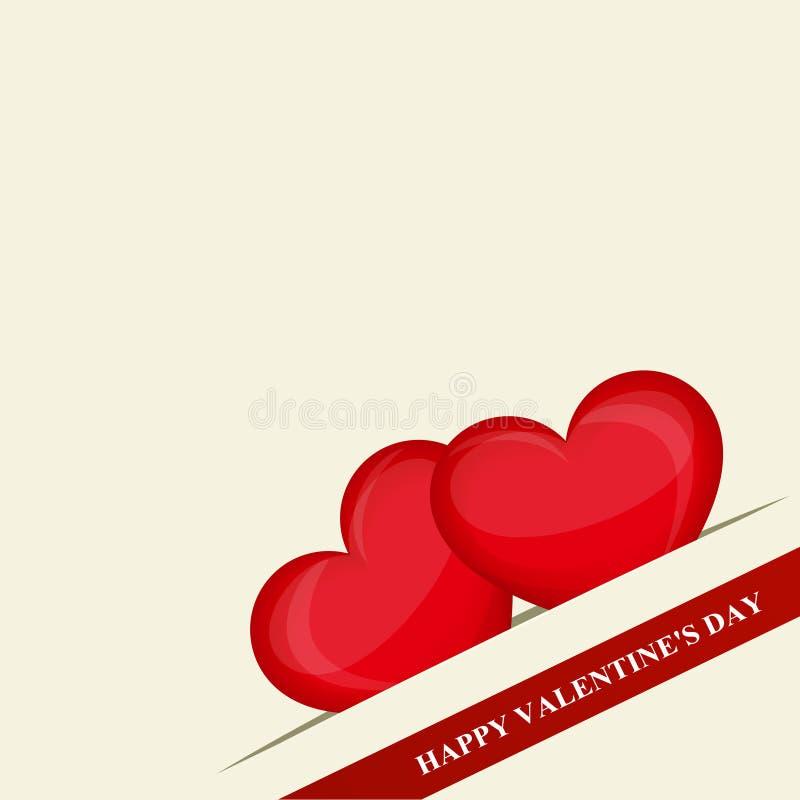 Dia feliz do `s do Valentim Dois corações vermelhos no bolso no canto Fita vermelha Projeto creativo Ilustração do vetor ilustração do vetor