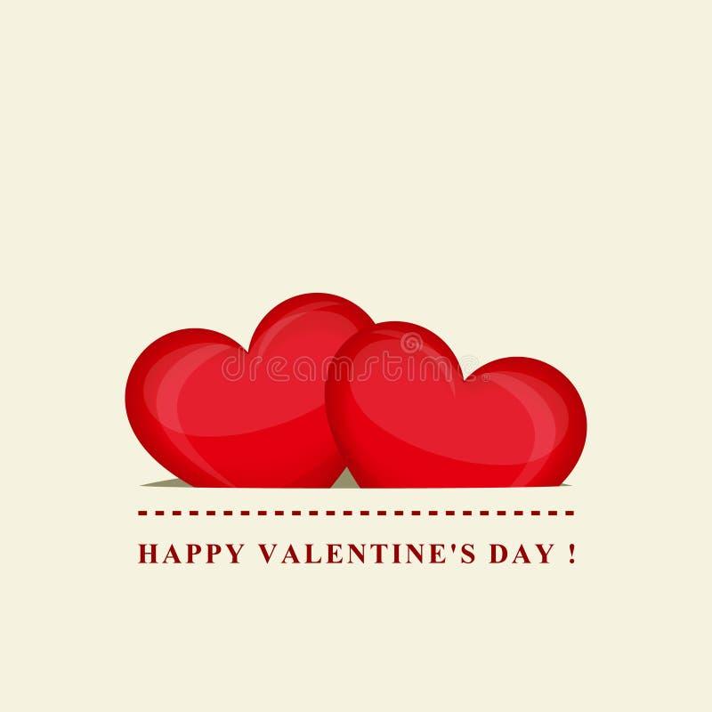 Dia feliz do `s do Valentim Dois corações vermelhos no bolso Projeto creativo Ilustração do vetor ilustração royalty free