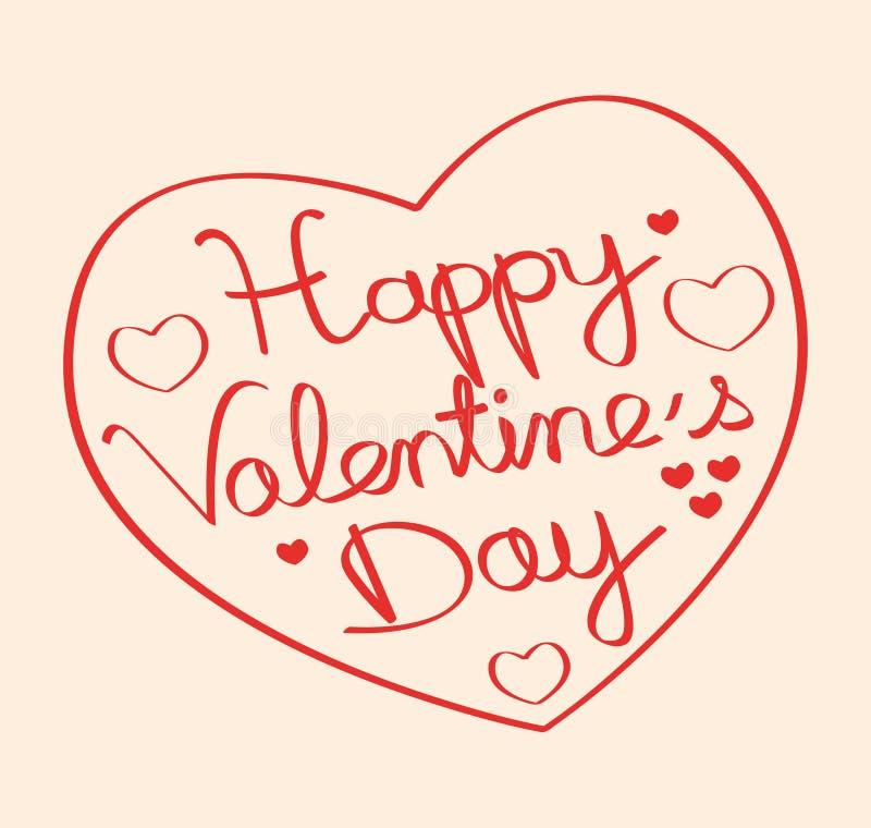 Dia feliz do ` s do Valentim! Forma tirada mão III do coração ilustração stock