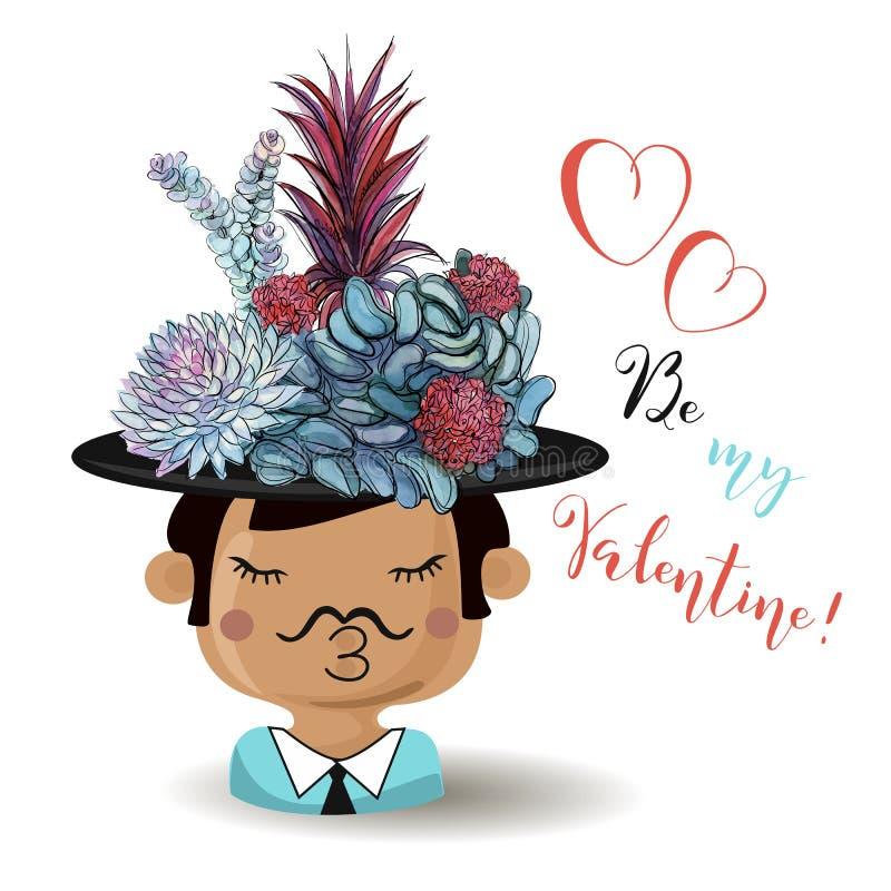 Dia feliz do `s do Valentim Menino com plantas carnudas das flores watercolor Vetor ilustração royalty free
