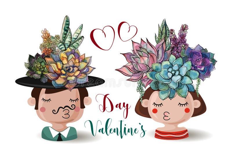 Dia feliz do `s do Valentim Menino e menina com plantas carnudas das flores watercolor ilustração stock