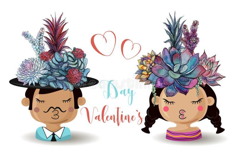 Dia feliz do `s do Valentim Menino e menina com plantas carnudas das flores watercolor ilustração royalty free