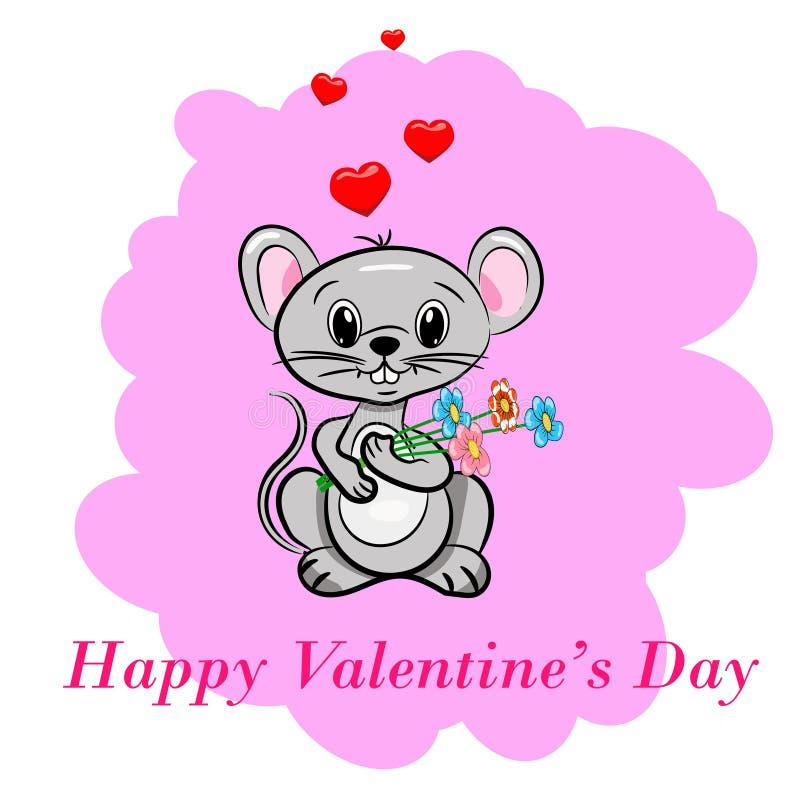 Dia feliz do `s do Valentim O rato bonito doce da mãe guarda um ramalhete do cartão cor-de-rosa do estilo dos desenhos animados d ilustração stock