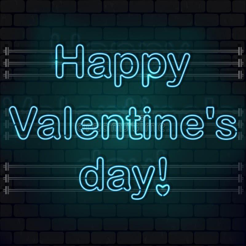 Dia feliz do `s do Valentim O sinal de néon azul em uma parede de tijolo fotografia de stock royalty free