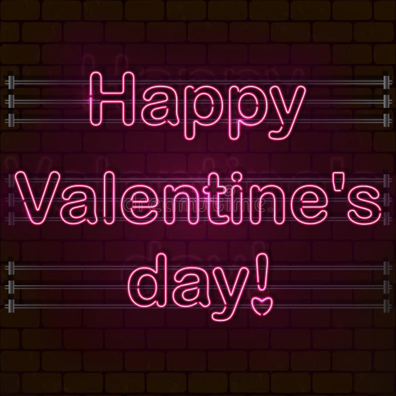 Dia feliz do `s do Valentim O sinal de néon cor-de-rosa em uma parede de tijolo imagem de stock royalty free
