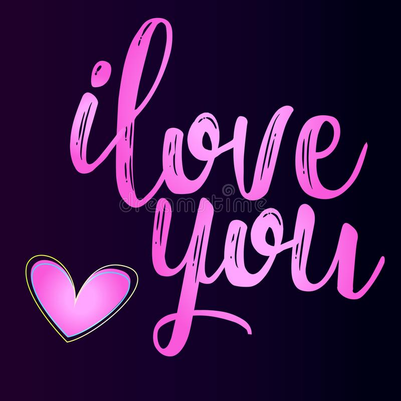 Dia feliz do ` s do Valentim - uma declaração do amor ilustração do vetor