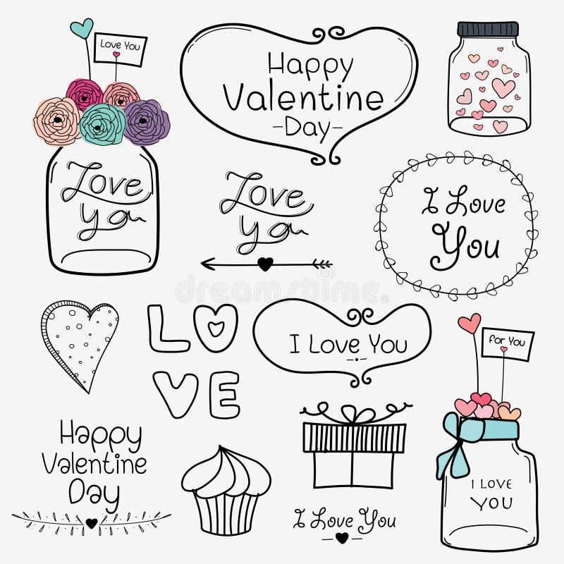 Dia feliz do Valentim Grupo de elementos retros de Valentine Day Labels And Typography do vintage ilustração royalty free
