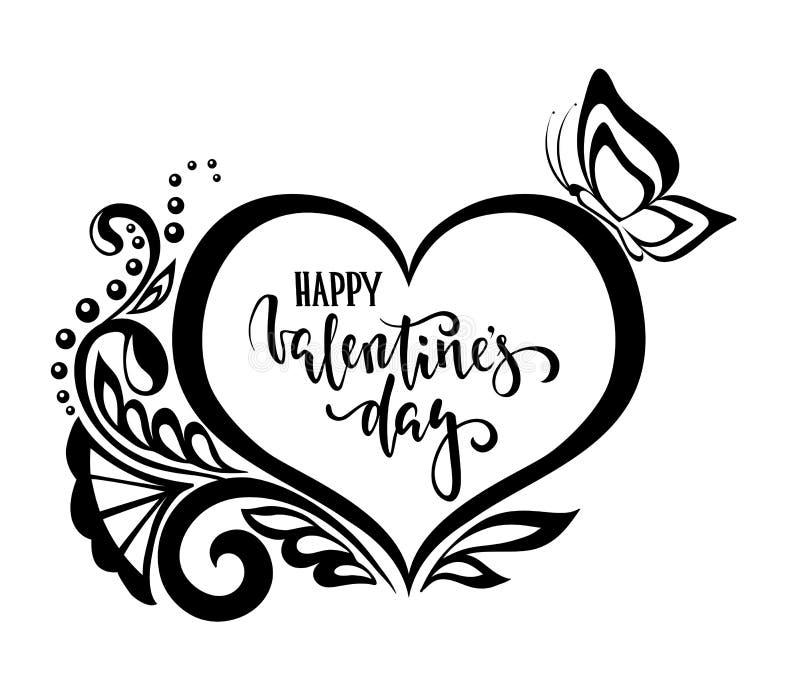 Dia feliz do Valentim Rotulação tirada mão da pena da caligrafia e da escova flores do laço do coração da silhueta projeto para o ilustração do vetor