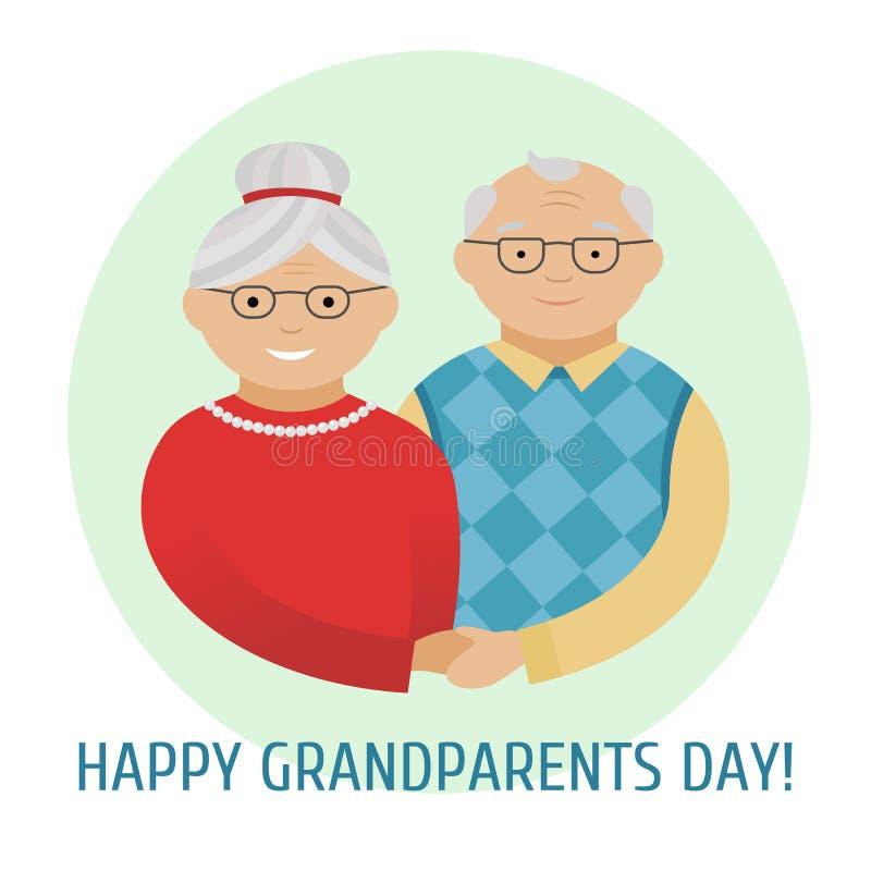 Dia feliz dos grandparent's Cartão colorido com texto Avô e avó Grandparents felizes Vetor ilustração do vetor