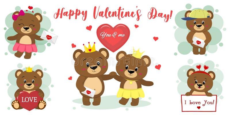 Dia feliz dos Valentim Ajuste de seis caráteres bonitos do urso marrom em poses diferentes e de acessórios no estilo dos desenhos ilustração royalty free