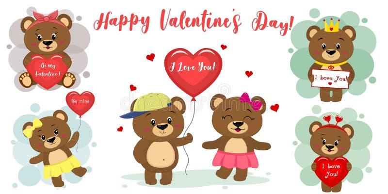 Dia feliz dos Valentim Ajuste de seis caráteres bonitos do urso marrom em poses diferentes e de acessórios no estilo dos desenhos ilustração do vetor