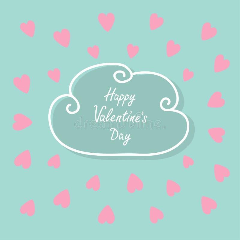Dia feliz dos Valentim Cartão do amor Linha de contorno quadro da nuvem Grupo do coração Rosa liso do projeto, fundo azul da cor ilustração royalty free