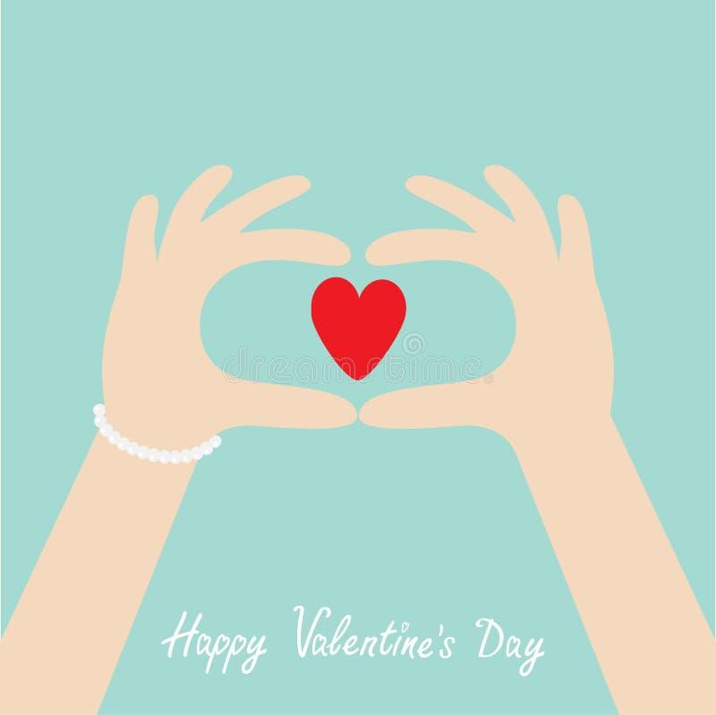 Dia feliz dos Valentim Mãos da mulher sob a forma do coração Fêmea que guarda o sinal vermelho da forma do coração Estilo liso do ilustração do vetor