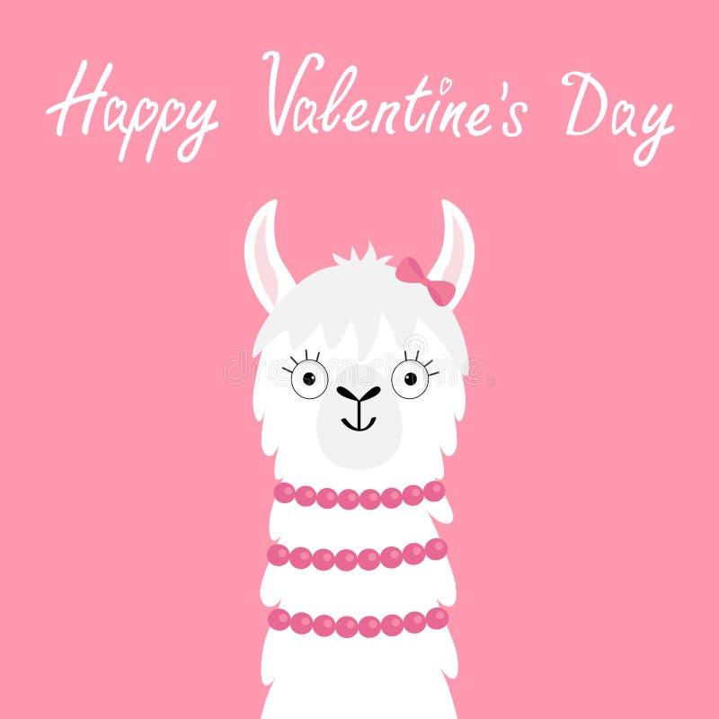 Dia feliz dos Valentim Pescoço principal da cara animal da menina da alpaca do lama Caráter de sorriso do kawaii engraçado bonito ilustração stock
