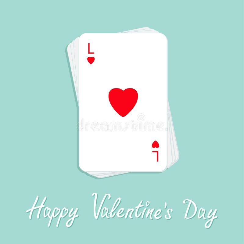 Dia feliz dos Valentim Pilha do cartão de jogo do pôquer com projeto liso do sinal vermelho do coração Cartão do amor ilustração royalty free