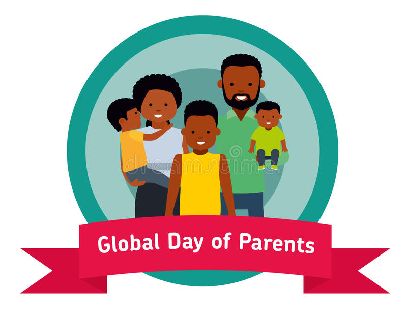 Dia global da bandeira ou da etiqueta dos pais Pais felizes com crianças ilustração royalty free