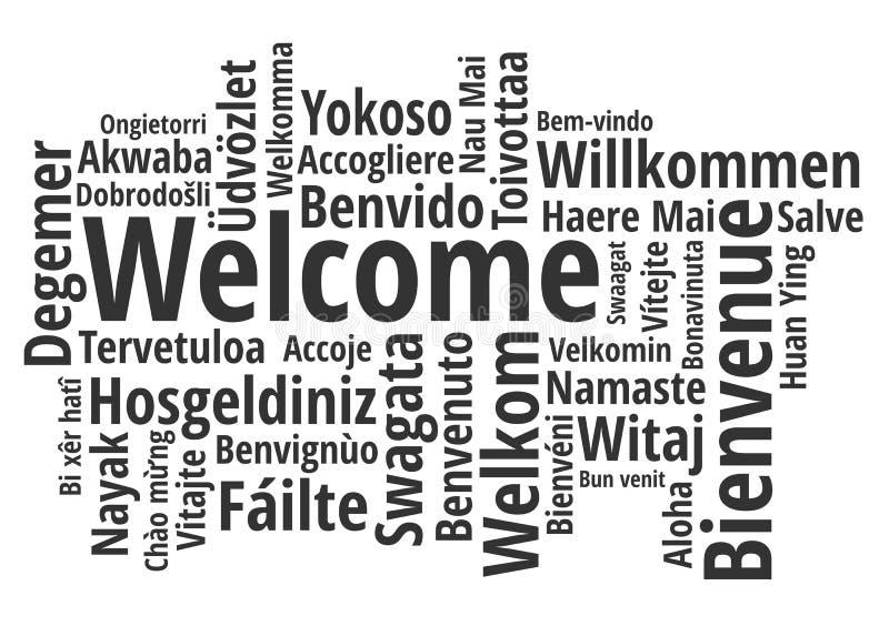 Dia il benvenuto a nel vettore differente del wordcloud di lingue illustrazione di stock