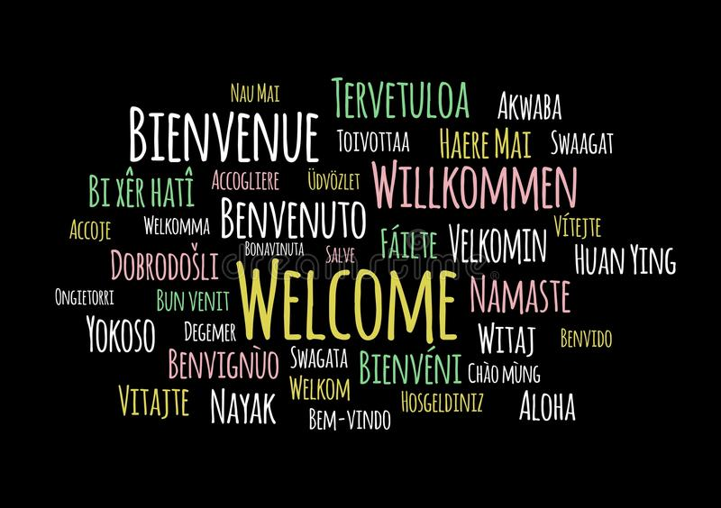 Dia il benvenuto a nel vettore differente del wordcloud di lingue su fondo nero illustrazione di stock