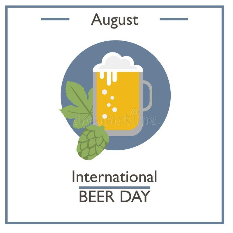 Dia internacional da cerveja, agosto ilustração do vetor