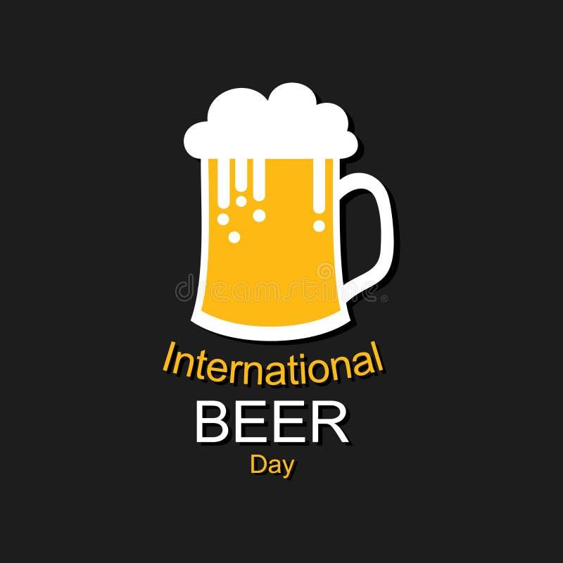 Dia internacional da cerveja com canecas de cerveja ilustração do vetor
