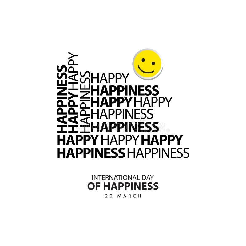Dia internacional da ilustração do projeto do vetor da felicidade foto de stock royalty free